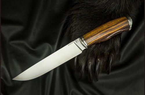 Нож Охотник 2 <span>(М390, спуски от обуха, айронвуд, литьё мельхиор)</span>