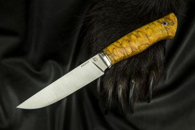 Нож Барс <span><span>(S390, спуски от обуха, стабилизированная карельская берёза, мозаичный пин под темляк)</span></span>