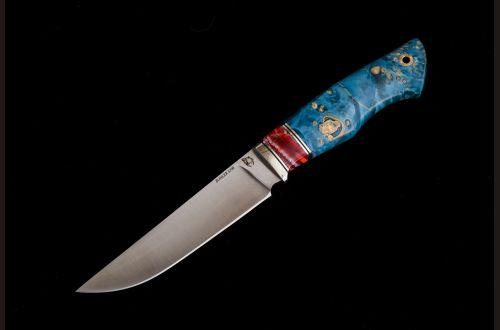 Нож Барс <span>(S390, спуски от обуха, стабилизированный клён, вставка стабилизированный зуб мамонта, мозаичный пин под темляк)</span>