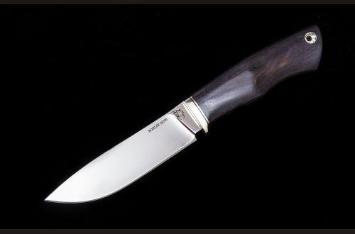Нож Крит <span>(м390, больстер мельхиор, стабилизированный чёрный граб, мозаичный пин под темляк)</span>