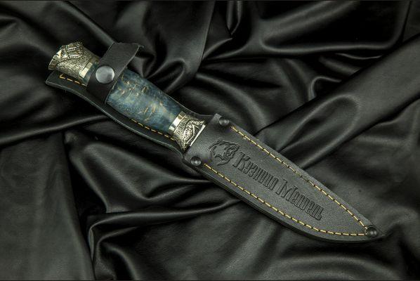 Авторская Финка НКВД 4 мм <span>(х12мф, стабилизированная карельская береза, авторское литьё мельхиор)</span>