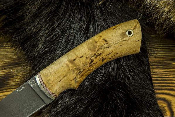 Нож Боровик - Premium <span>(булат, карельская береза, мозаичный пин темляк)</span>
