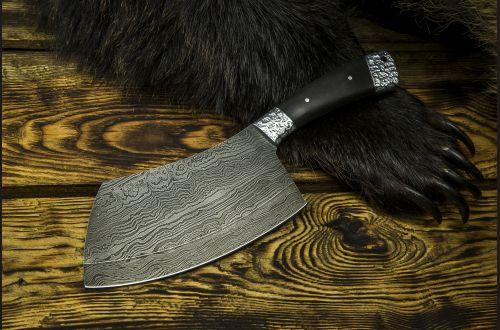 Тяпка № 1 <span>(дамасская сталь 1200 слоёв, чёрный граб, цельнометаллическая, резная рукоять)</span>