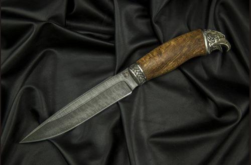 Нож Ворон <span>(дамаск, стабилизированная карельская берёза, литьё мельхиор)</span>