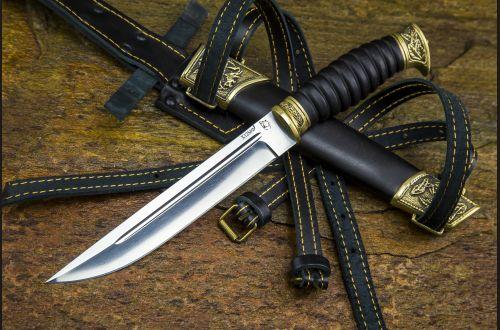 Нож Пластунский <span>(х12мф, черный граб, литье латунь, резная рукоять, деревянные ножны)</span>