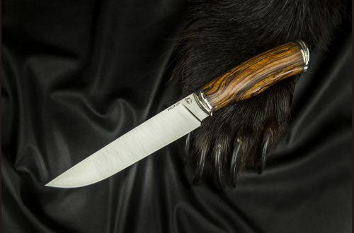 Нож Охотник 2 <span>(S390, спуски от обуха, айронвуд, литьё мельхиор)</span>