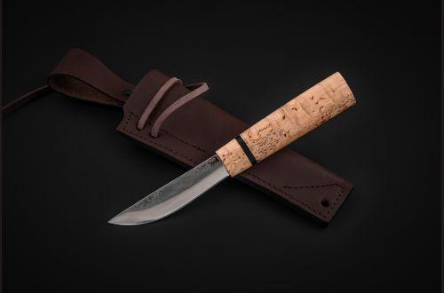 Якутский нож, малый <span>(х12мф, карельская береза, вставка черный граб, кованный дол)</span>