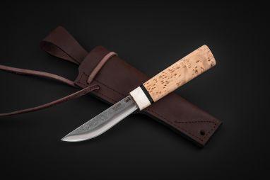 Якутский нож, малый <span><span>(х12мф, карельская береза, больстер лосиный рог, кованный дол)</span></span>