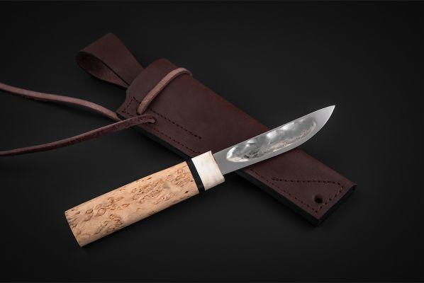 Якутский нож, малый <span>(х12мф, карельская береза, больстер лосиный рог, кованный дол)</span>