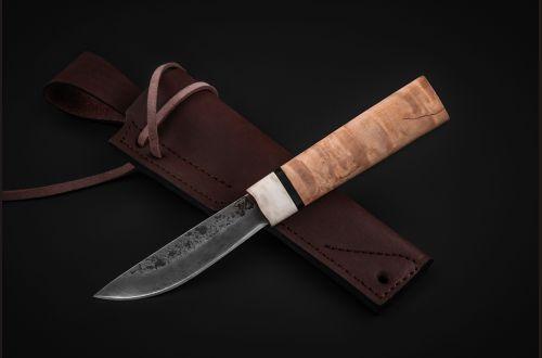 Якутский нож, малый <span>(дамасская сталь 1200 слоёв, карельская береза, больстер лосиный рог, кованный дол)</span>